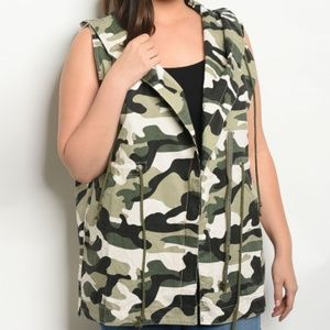 💋 LAST CHANCE 💋 Camo Jacket Vest Plus Size
